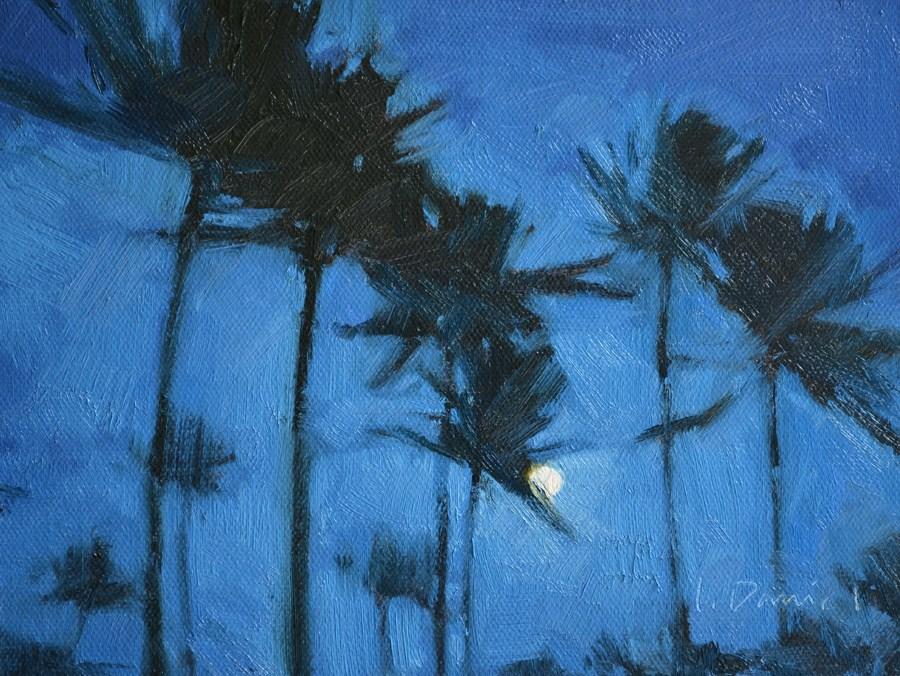 """Tropical Moon"" original fine art by Laurel Daniel"