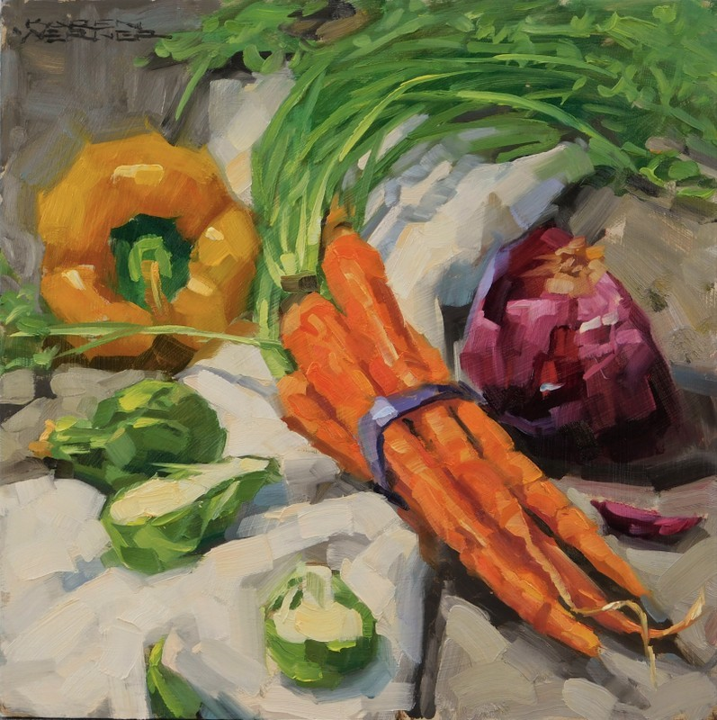 """Eat Your Carrots"" original fine art by Karen Werner"