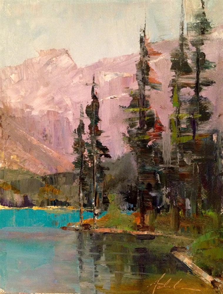 """""""Tall Trees, Lake Louise 8x6"""" original fine art by Ann Feldman"""
