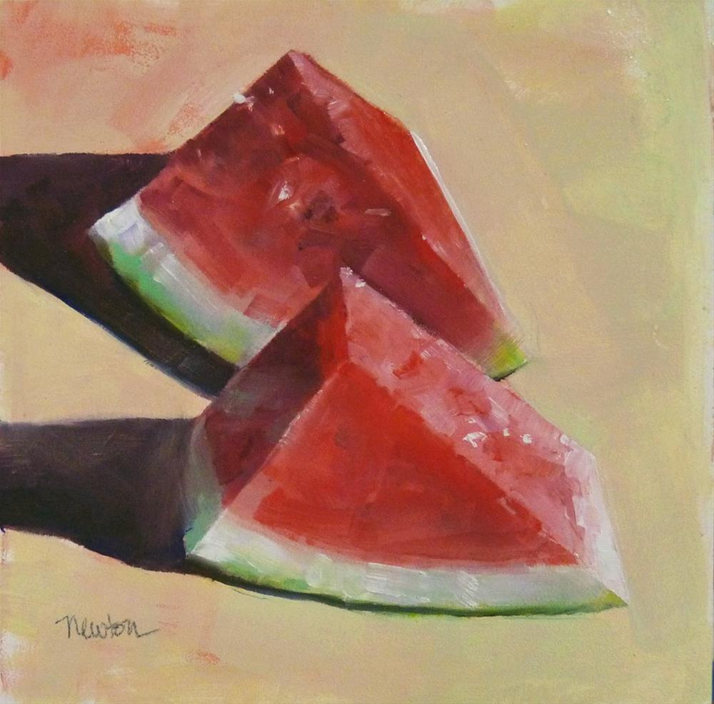 """""""Watermelon Time"""" original fine art by Barbara Benedetti Newton"""