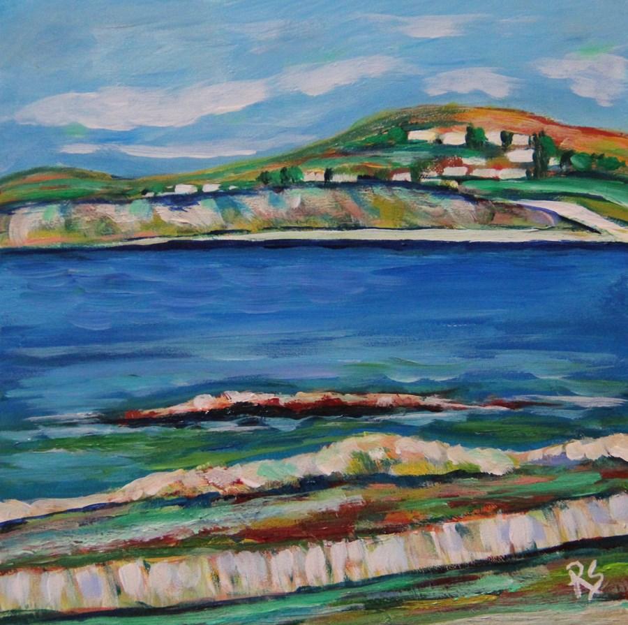 """Across The Bay -  Mykonos, Greece"" original fine art by Roberta Schmidt ArtcyLucy"