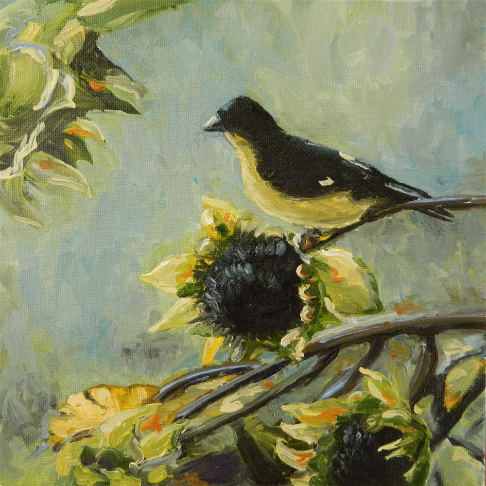 """Goldfinch and Sunflowers"" original fine art by Tess Lehman"