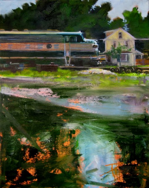 """""""Passing Through Orville  trains in the landscape , daily oil painting"""" original fine art by Robin Weiss"""