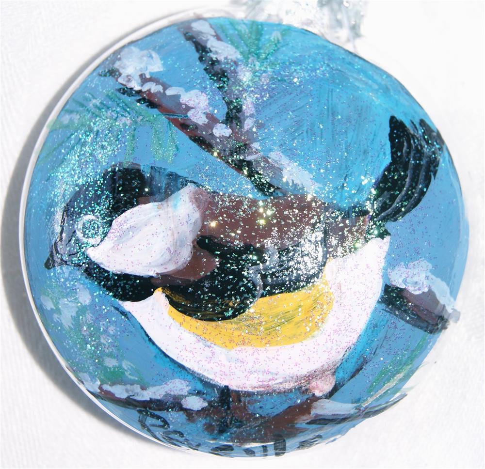 """Glass ornaments, Christmas, Holiday season, Hand painted, Bird"" original fine art by Reveille Kennedy"