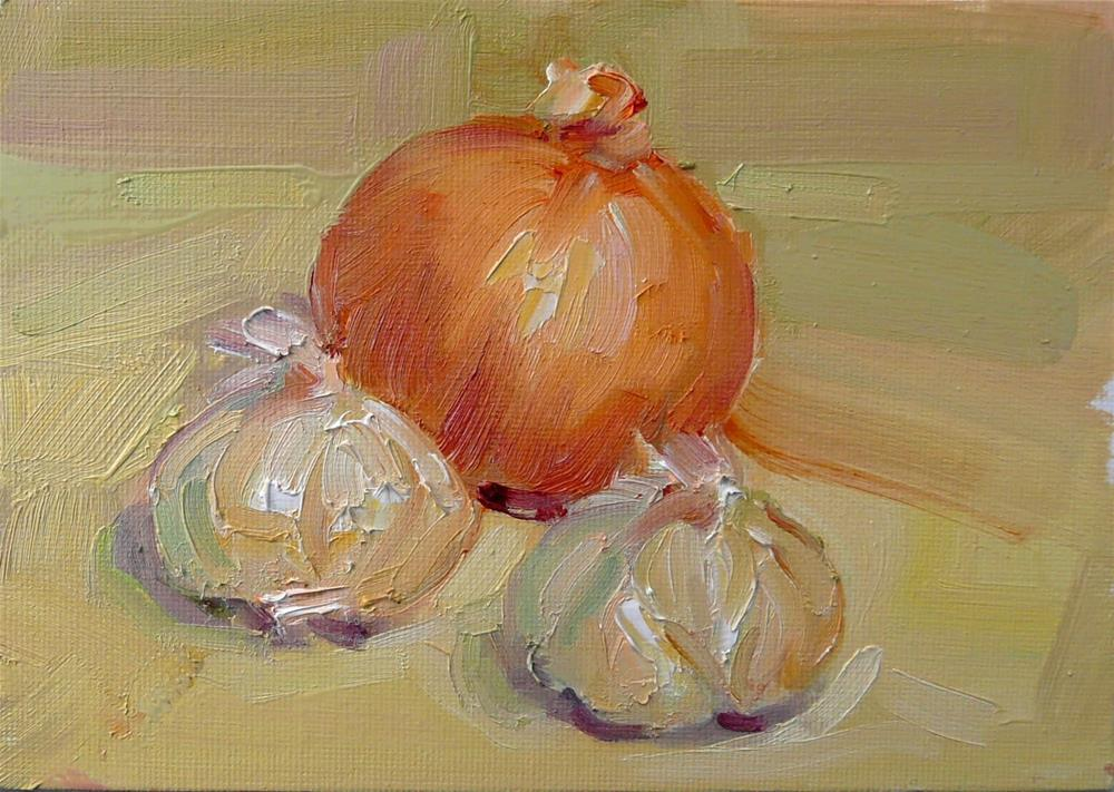 """Garlic and Onion,still life,oil on canvas,5x7,price$100"" original fine art by Joy Olney"