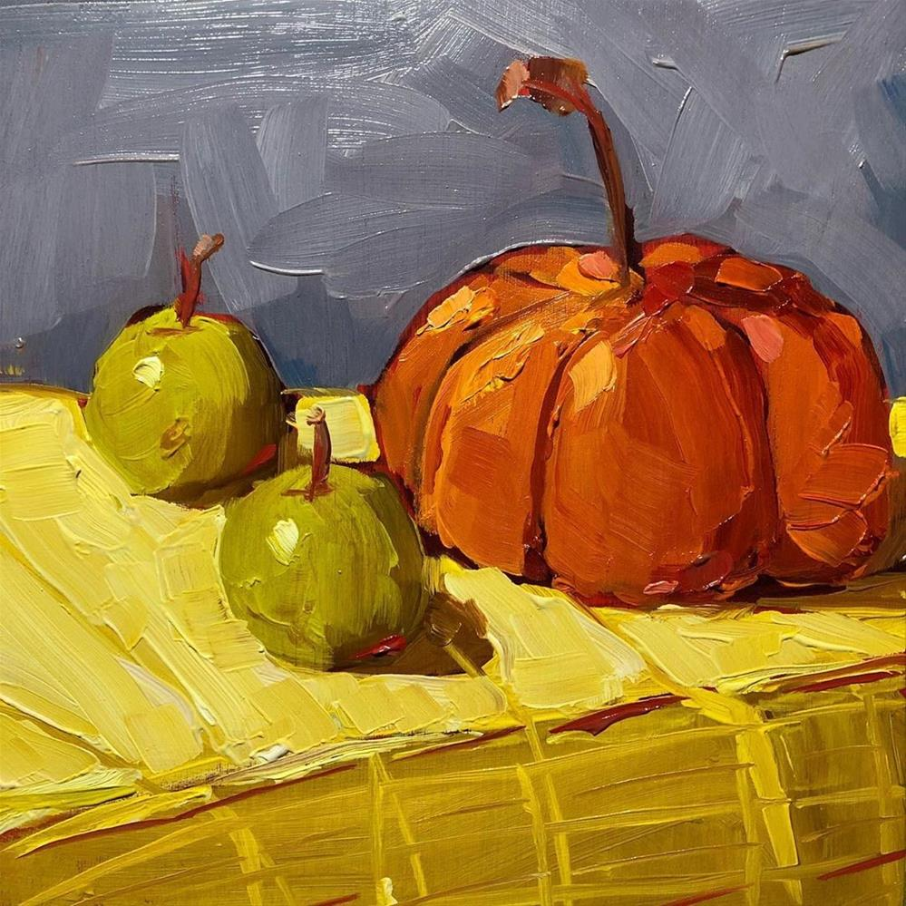 """1277: Playing with Pumpkins"" original fine art by Brian Miller"