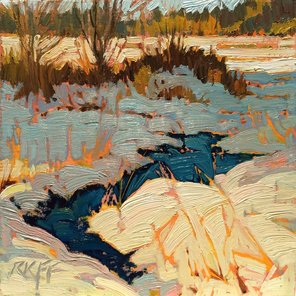 """Snow Thaw: 6x6 oil on panel"" original fine art by Ken Faulks"