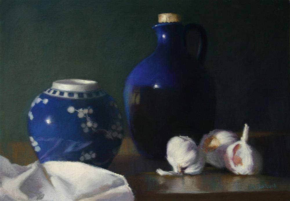 """Ginger jar with garlics"" original fine art by Liz Balkwill"