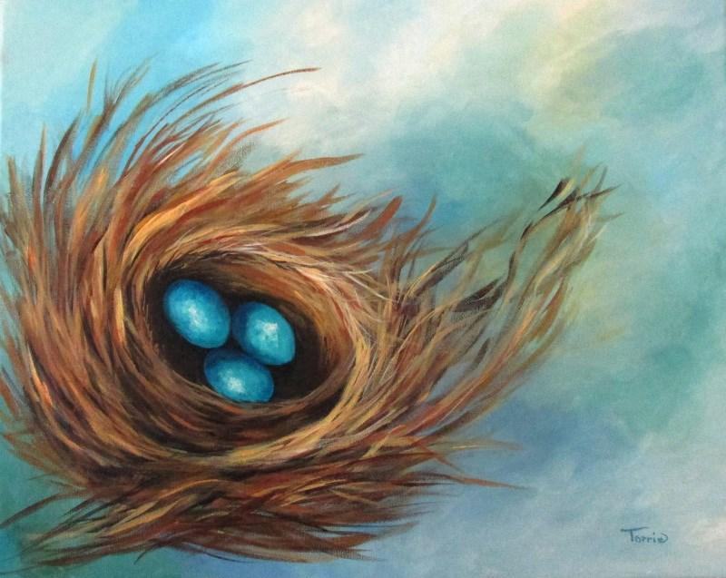 """Robin's Blue Eggs II"" original fine art by Torrie Smiley"