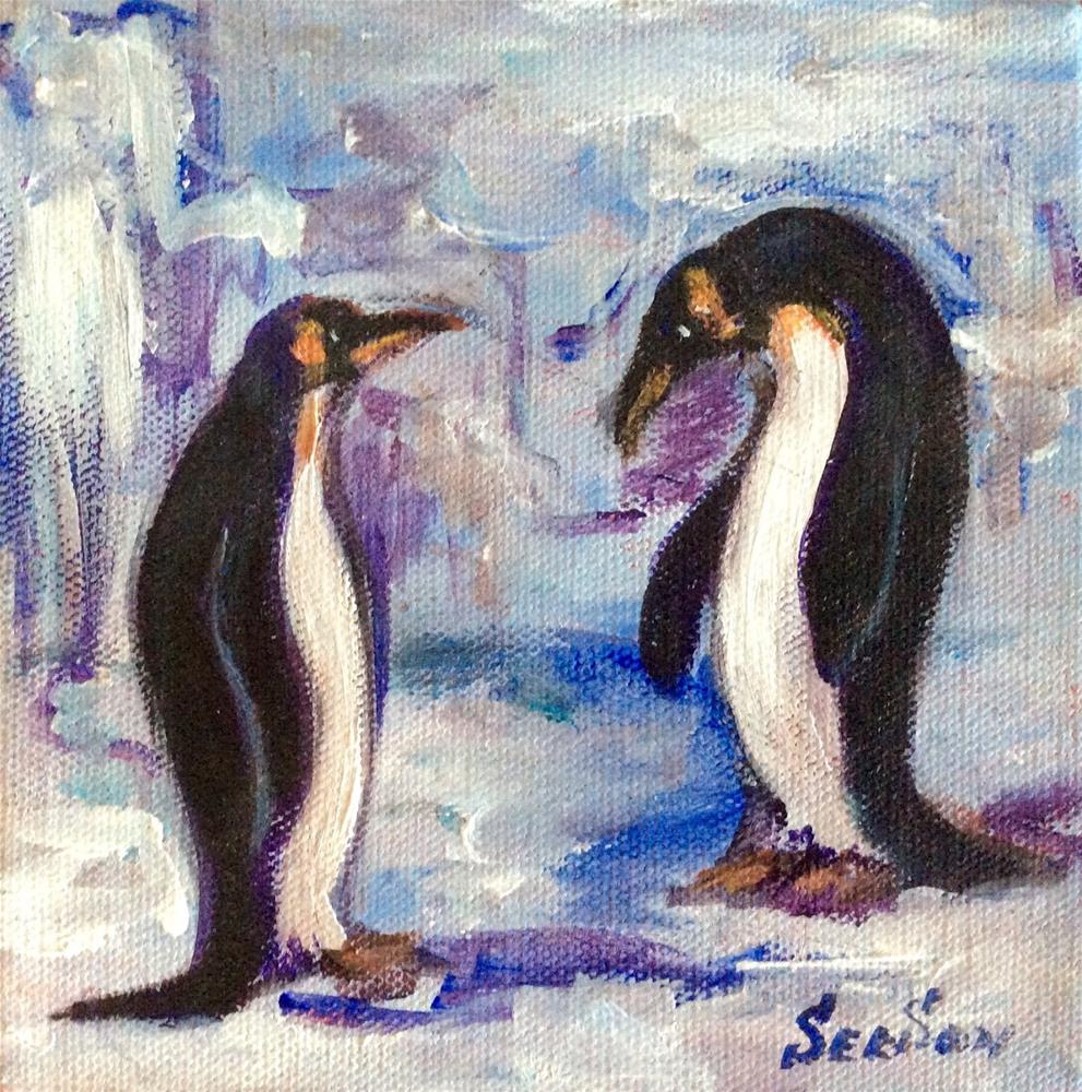 """""""Two penguins"""" original fine art by Sonia von Walter"""