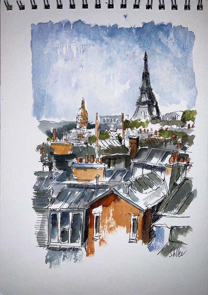 """""""3700 Parisian Rooftops"""" original fine art by Dietmar Stiller"""