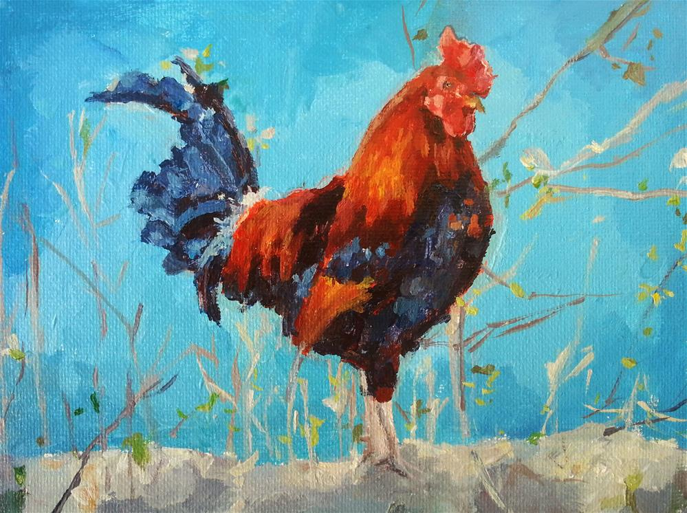 """""""Rooster on the Farm"""" original fine art by Nava Judith"""