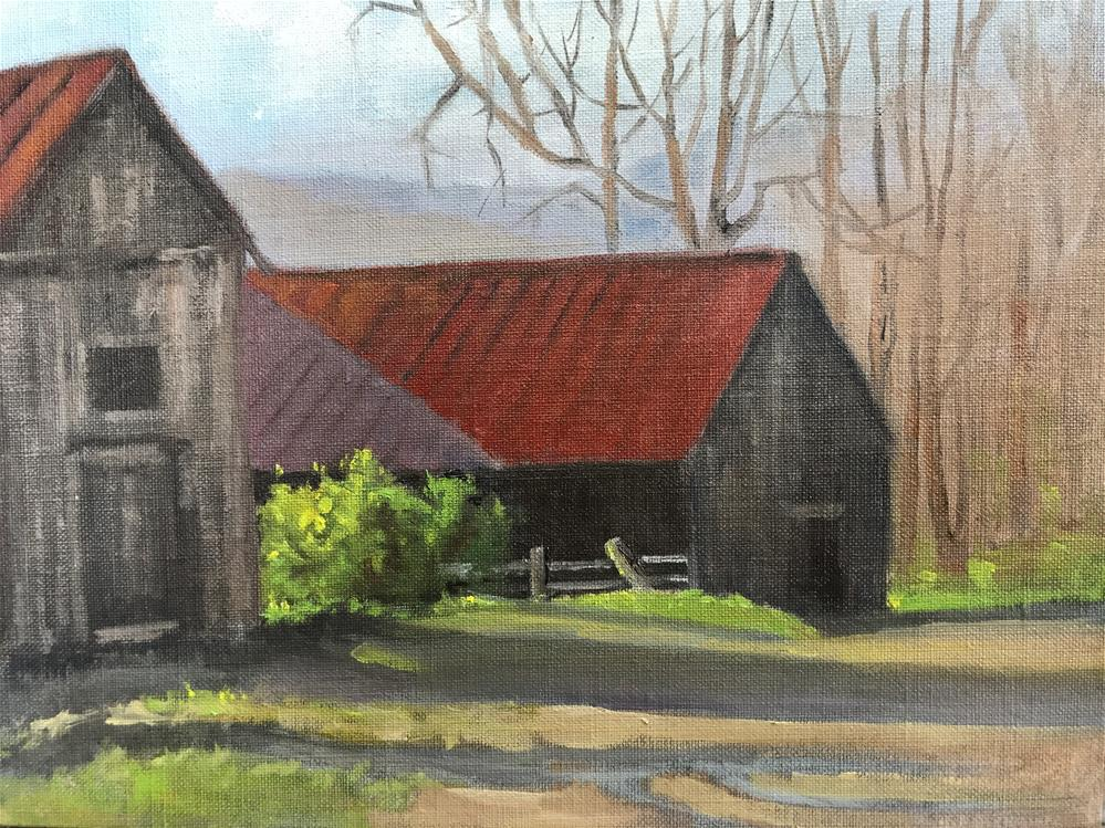 """shadow on the barn"" original fine art by Betty Argiros"