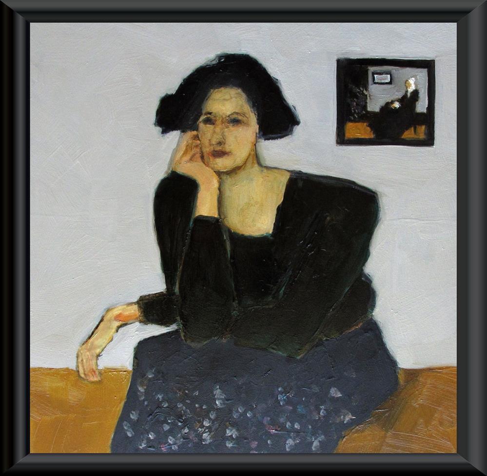 """WHISTLER'S SISTER Original ABSTRACT FIGURE Art 8 x 8 Painting OIL"" original fine art by Colette Davis"