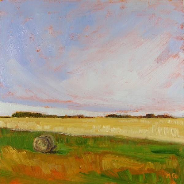 """Harvest and Hay Bale"" original fine art by Nicki Ault"