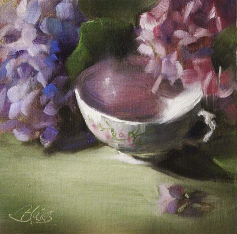 """Hydrangeas and a Teacup"" original fine art by Pamela Blaies"
