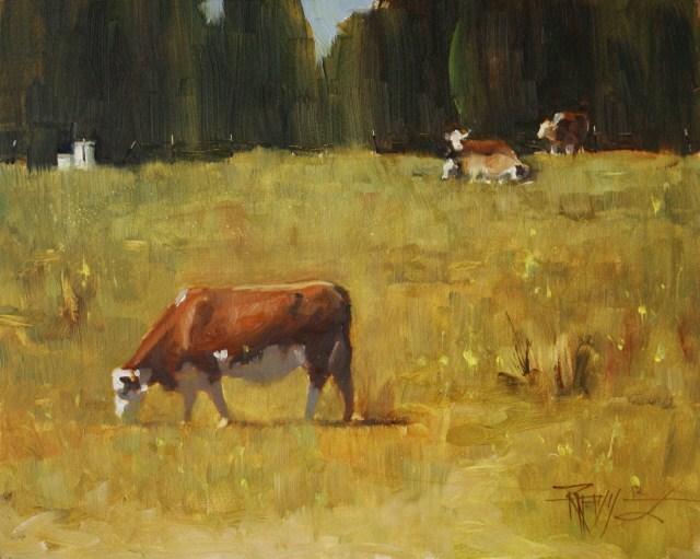 """""""Four Cows  cow,landscape painting by Robin Weiss"""" original fine art by Robin Weiss"""