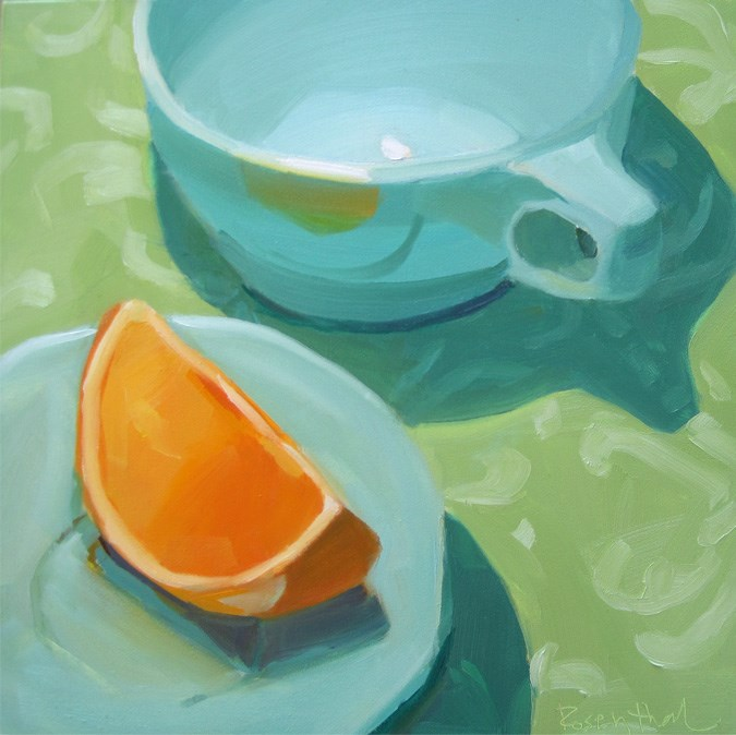 """Teal Cup on Green"" original fine art by Robin Rosenthal"