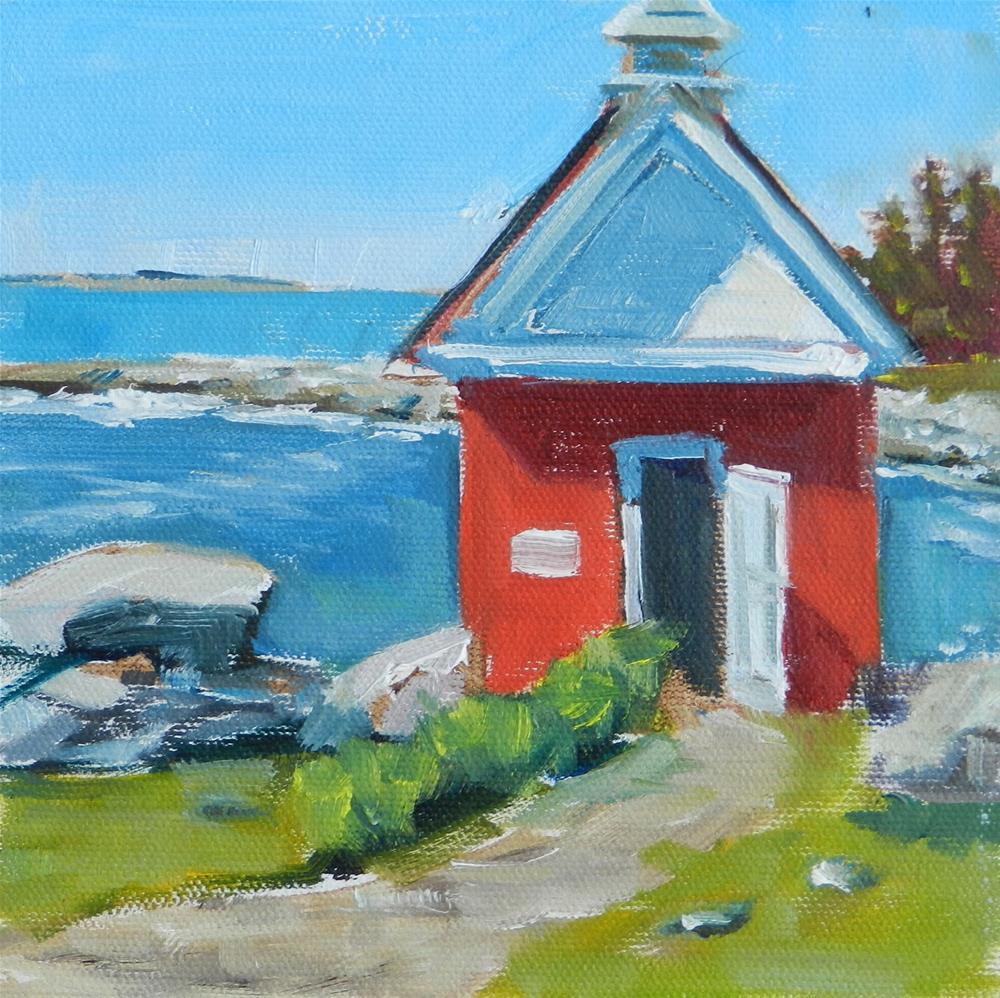 """The Oil House, 6x6 Inch Oil Plein Air Painting by Kelley MacDonald"" original fine art by Kelley MacDonald"