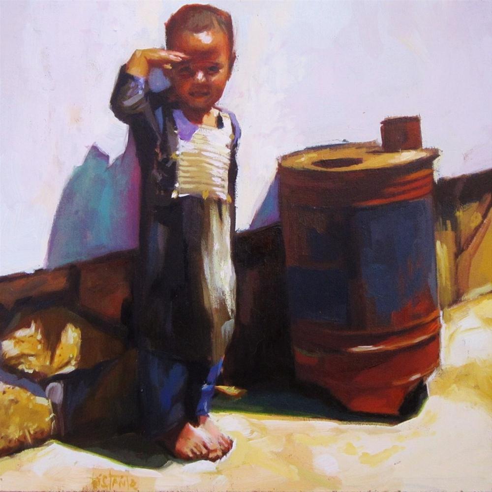 """Barefooted child"" original fine art by Víctor Tristante"