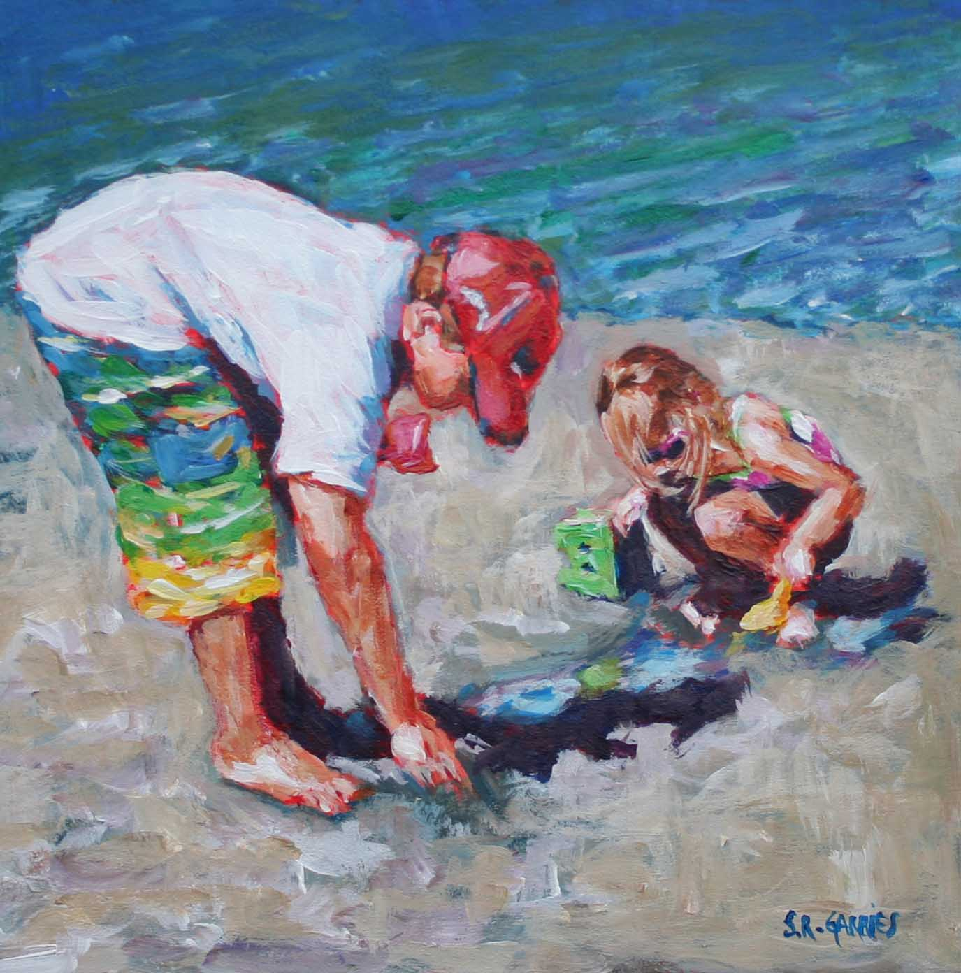 """kids at the lake"" original fine art by Shelley Garries"