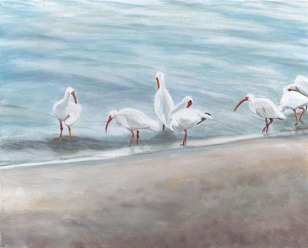 """White Ibis Wading"" original fine art by Charlotte Yealey"