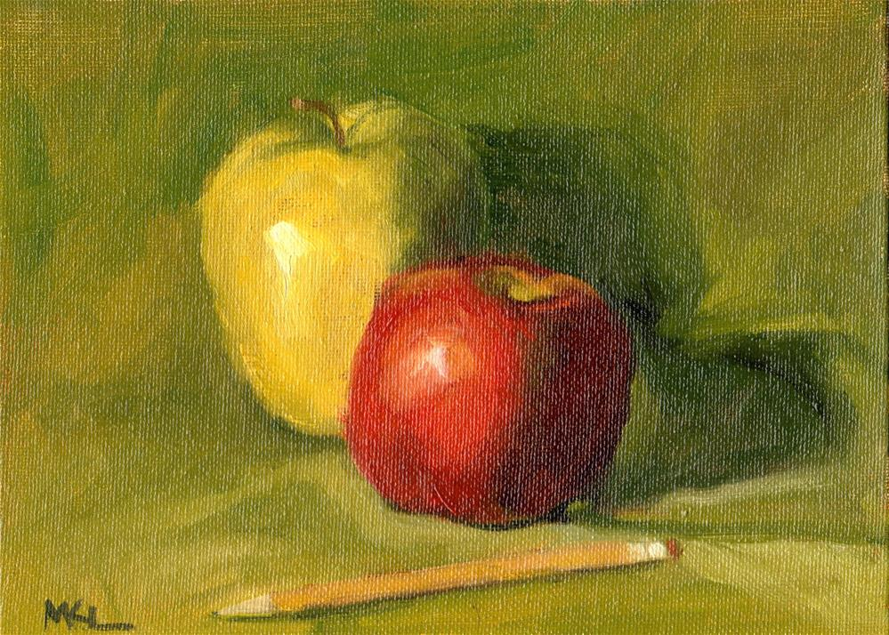 """Apples with a Pencil"" original fine art by Marlene Lee"