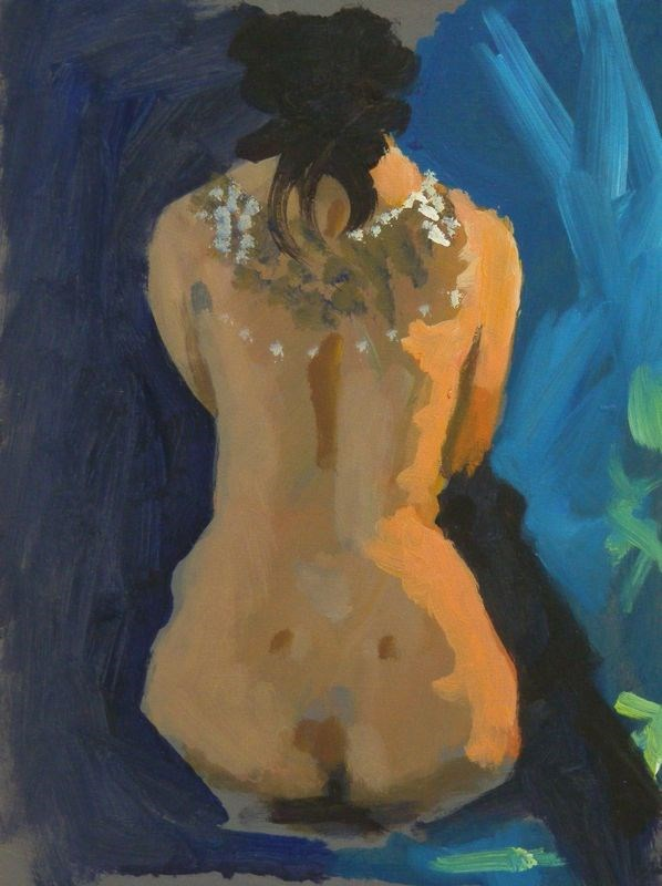 """Nude back with necklace"" original fine art by Peter Orrock"
