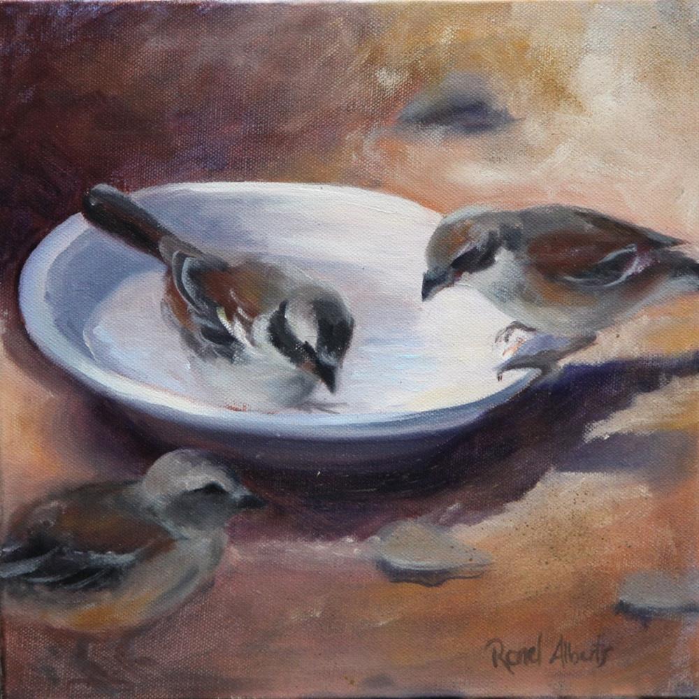 """Three Tweets"" original fine art by Ronel Alberts"