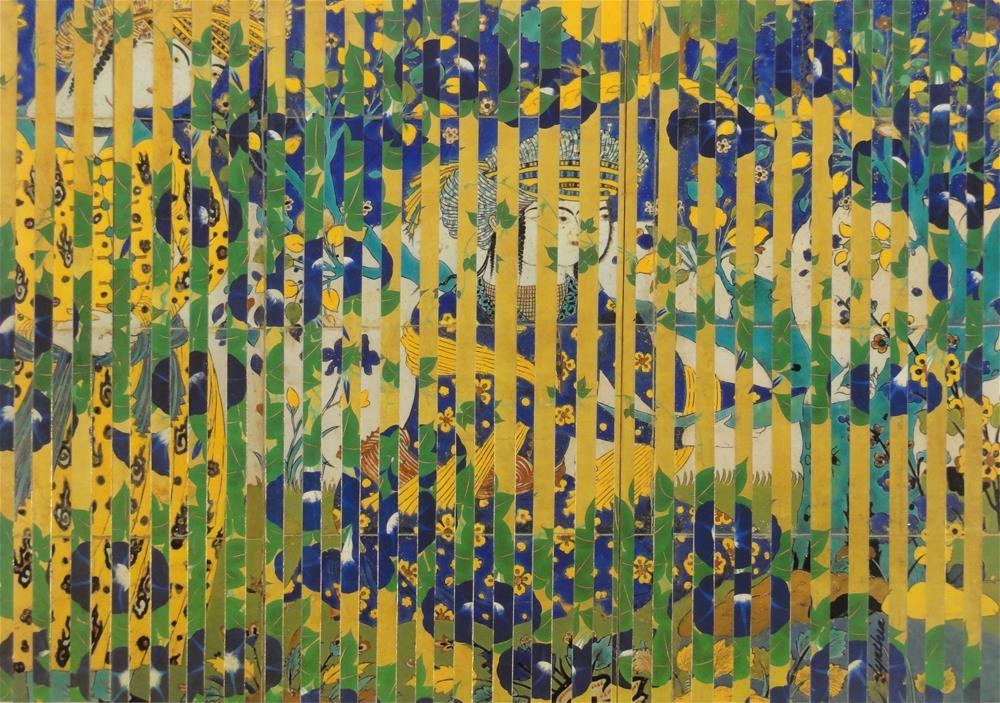 """Japanese Morning Glories in a Persian Garden"" original fine art by Cynthia Frigon"