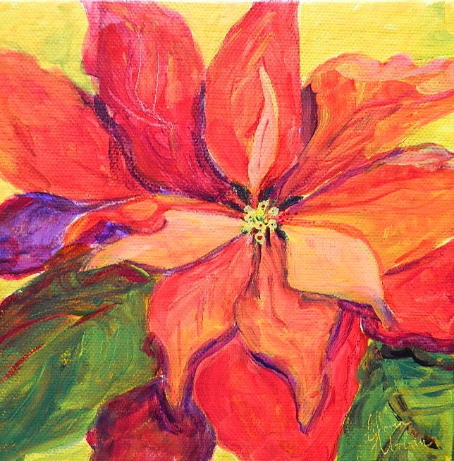 """Poinsetta"" original fine art by Gloria Urban"