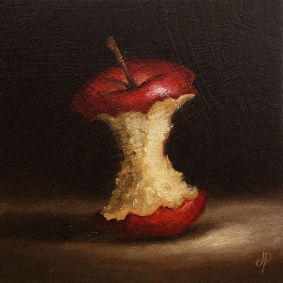 """Apple core"" original fine art by Jane Palmer"