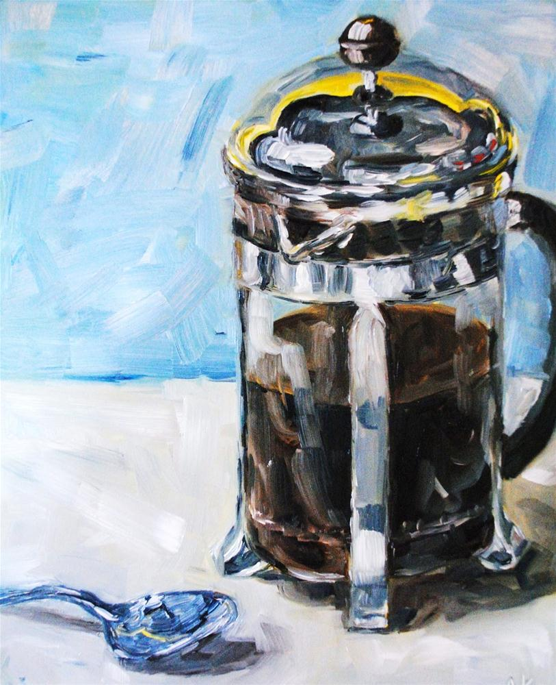 """French Press and Spoon"" original fine art by Alison Kolkebeck"