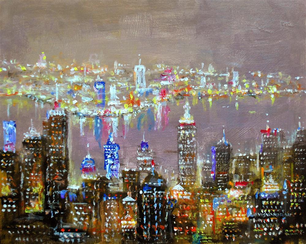 """New York in night7"" original fine art by vishalandra dakur"
