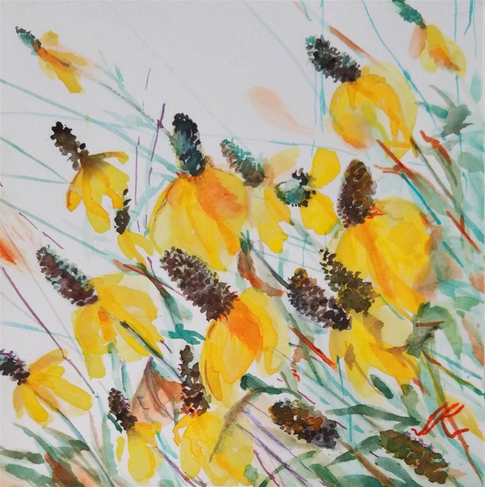 """""""Prairie Cone Flower - Ratibida columnifera"""" original fine art by Jean Krueger"""