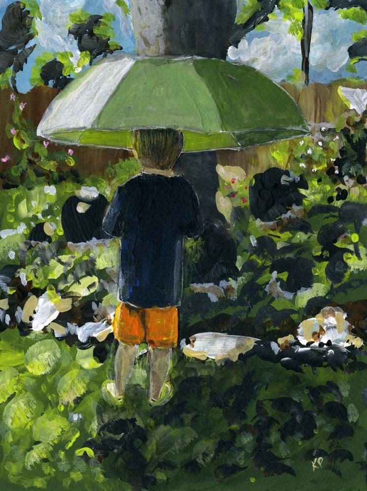 """""""Grandson with Rainbrella"""" original fine art by Kali Parsons"""