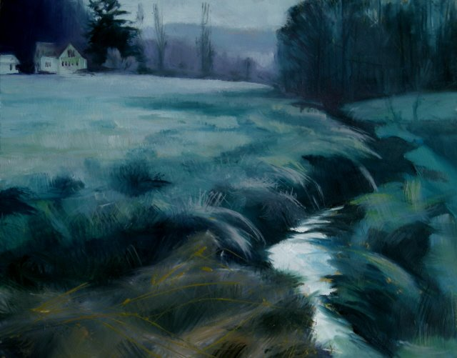 """Cold Morning  landscape oil painting"" original fine art by Robin Weiss"