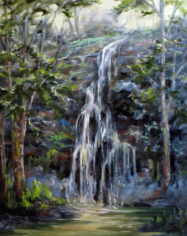 """""""Waterfall in the Woods"""" original fine art by Tammie Dickerson"""