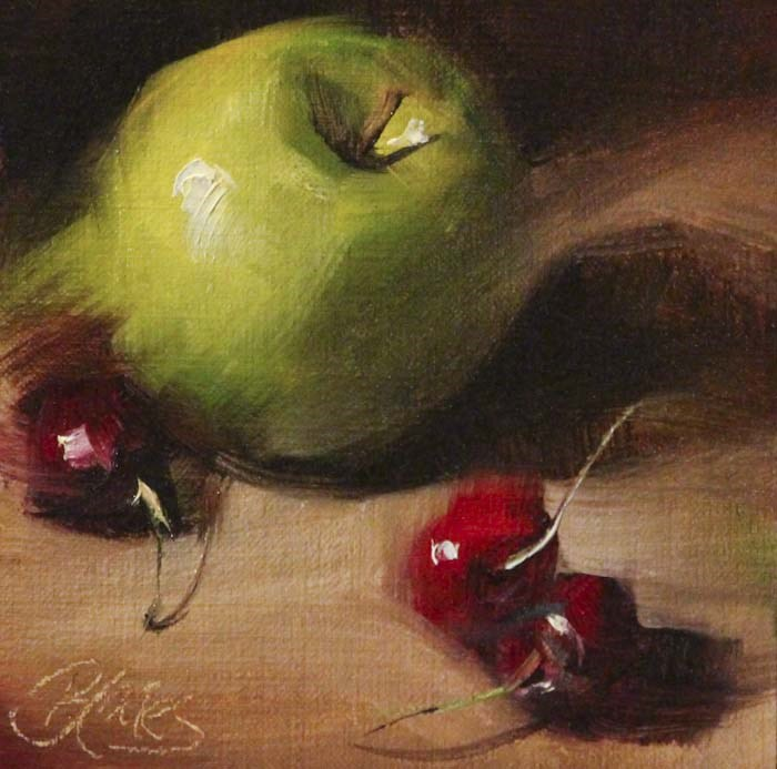 """Granny Smith and Cherries"" original fine art by Pamela Blaies"