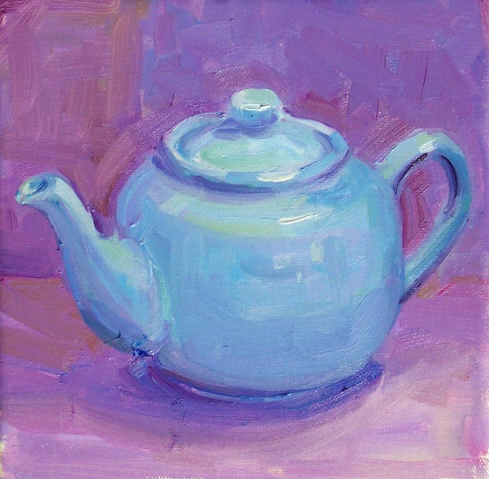"""Blue Teapot,still life,oil on canvas,8x8,Price$200"" original fine art by Joy Olney"