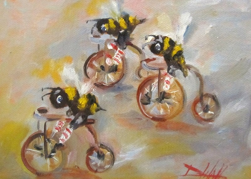 """Like the Wind,Biker Bees"" original fine art by Delilah Smith"