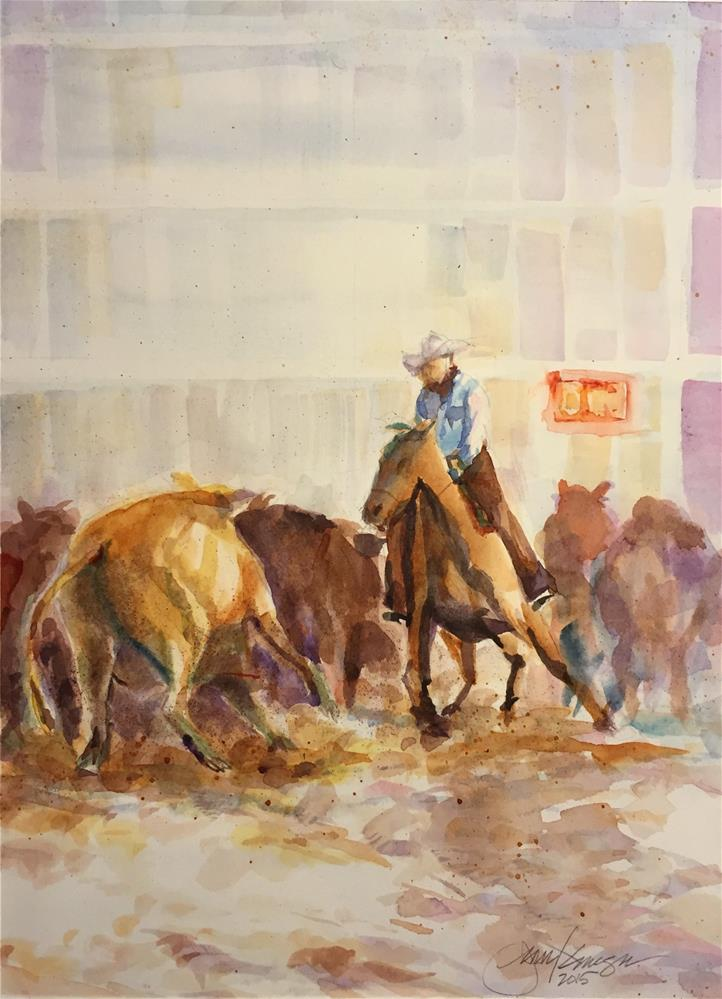 """Cattle Cuttling Blue"" original fine art by Jean Krueger"