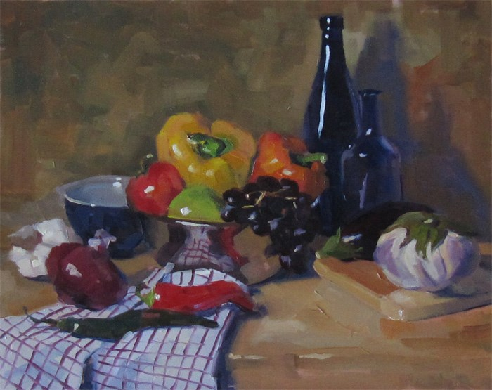 """""""Composition with Bottles"""" original fine art by Katia Kyte"""
