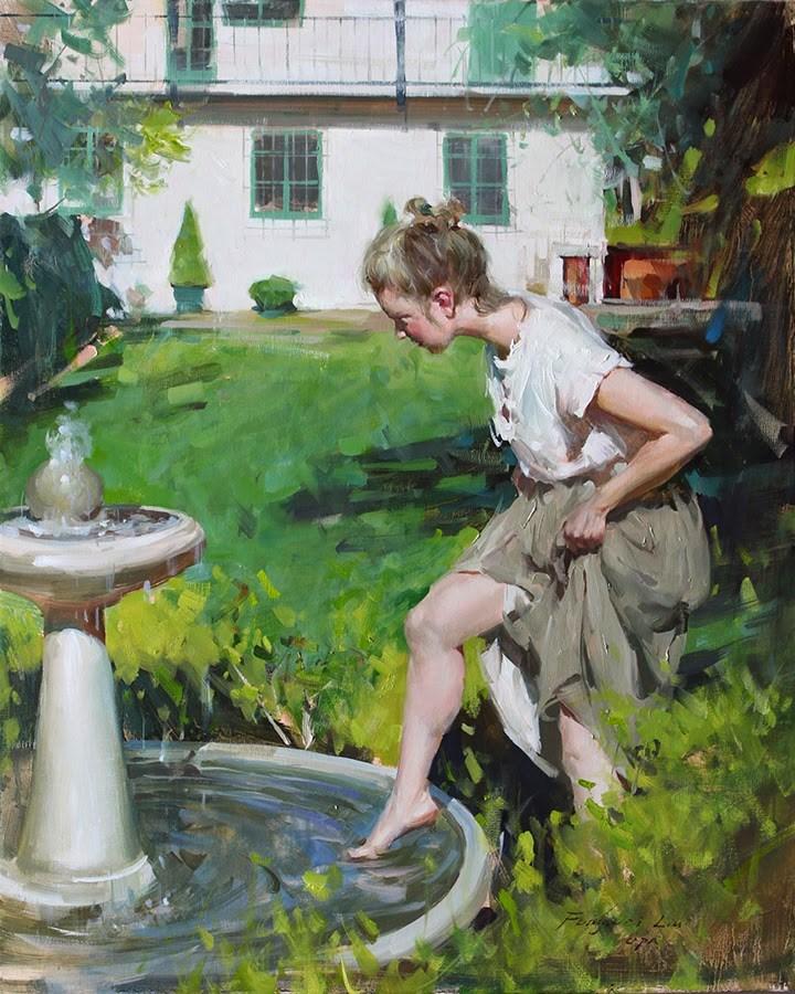 """""""Backyard"""" original fine art by Fongwei Liu"""