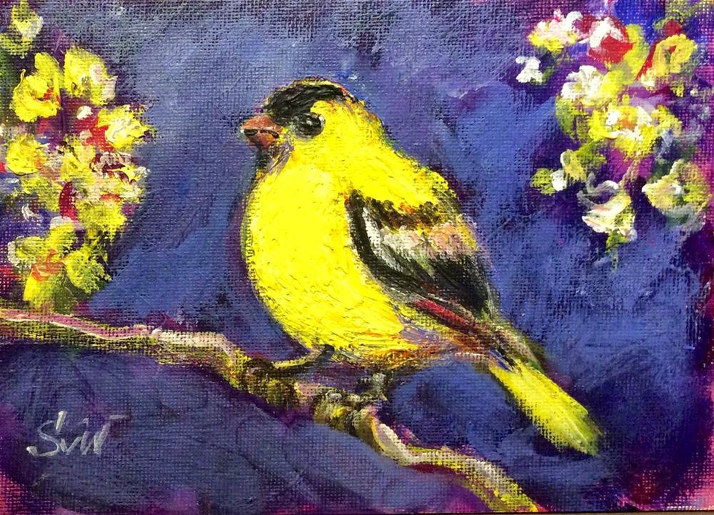 """""""Goldfinch bird painting"""" original fine art by Sonia von Walter"""