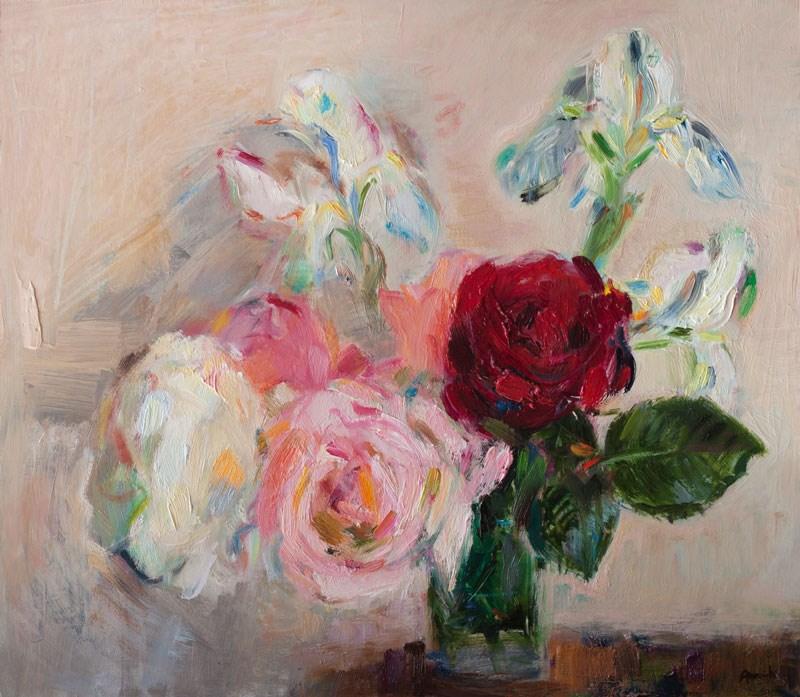 """Garden roses and white iris flowers"" original fine art by Anna Fine Art"