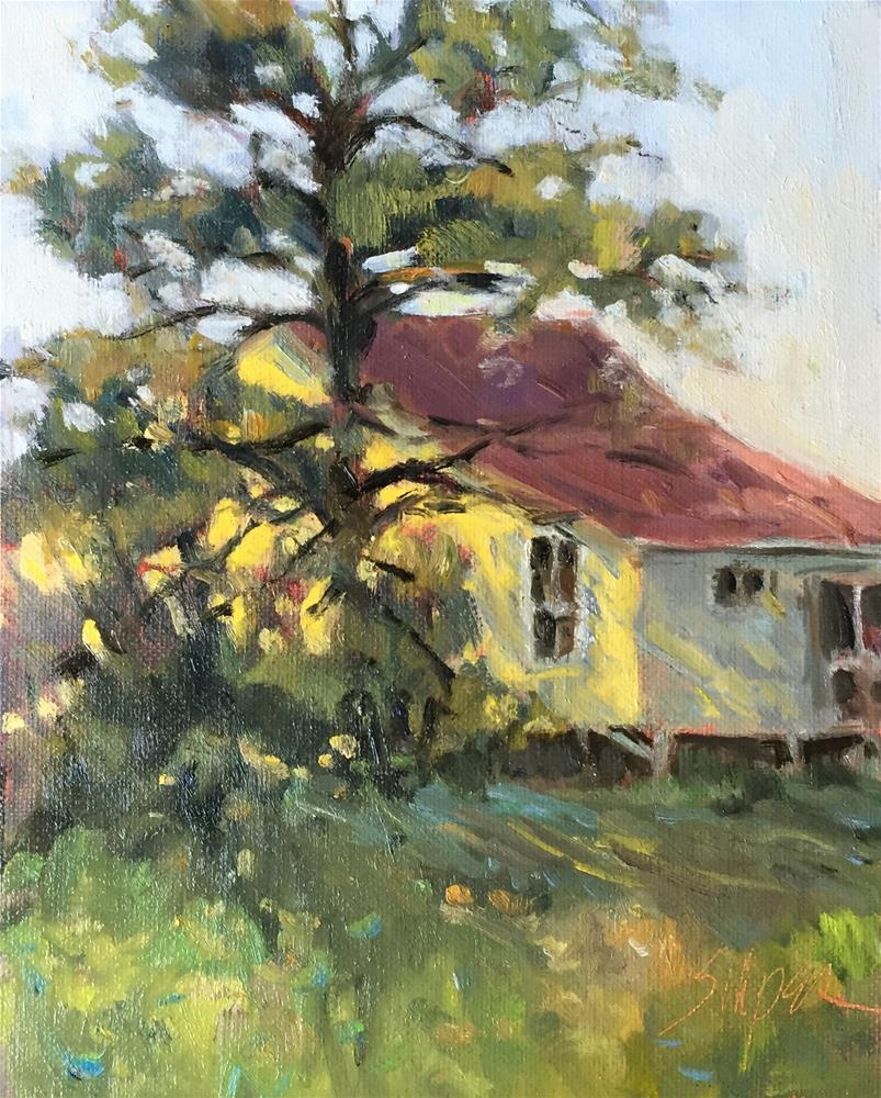 """Dappled Light on the Yellow House"" original fine art by Connie Snipes"