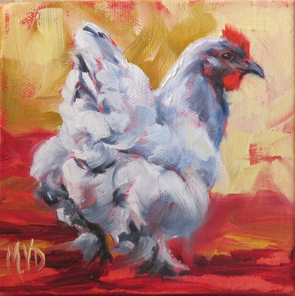 """Blue Cochin - Silver"" original fine art by Mary Van Deman"