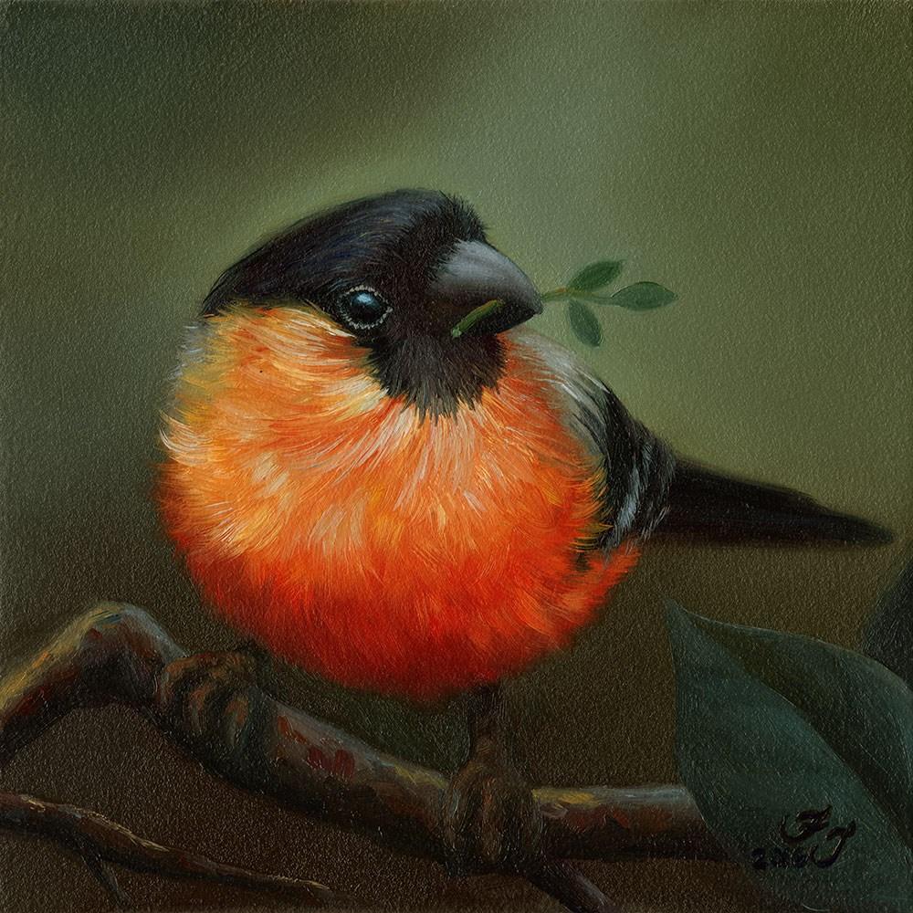 """Bullfinch"" original fine art by Faith Te"