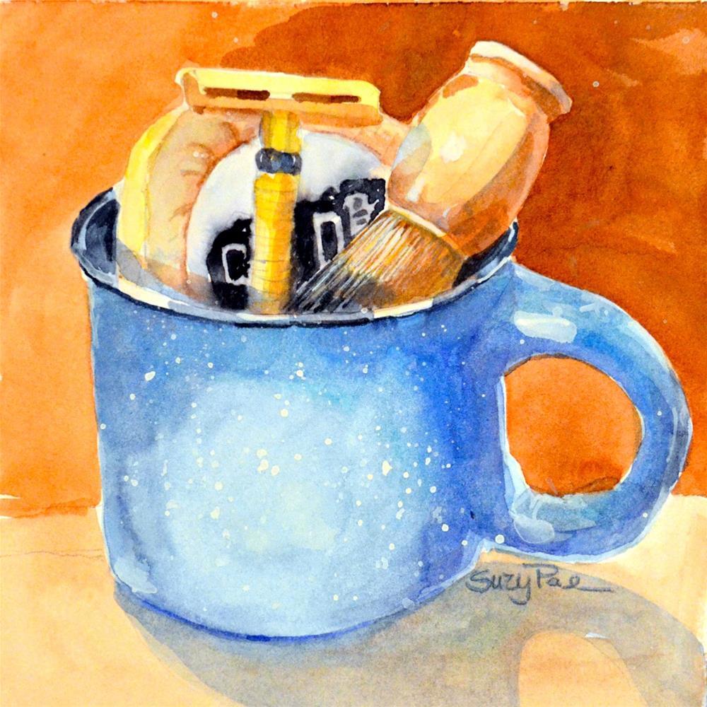 """""""Blue Shaving Mug"""" original fine art by Suzy 'Pal' Powell"""
